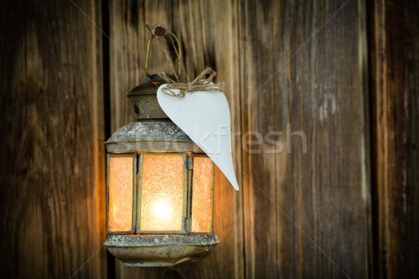 Natale luce candeliere legno ornamento albero Foto d'archivio © gitusik