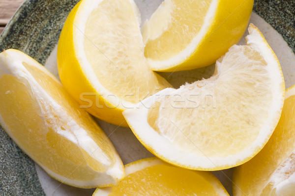 黄色 グレープフルーツ スライス プレート クロス フルーツ ストックフォト © gitusik