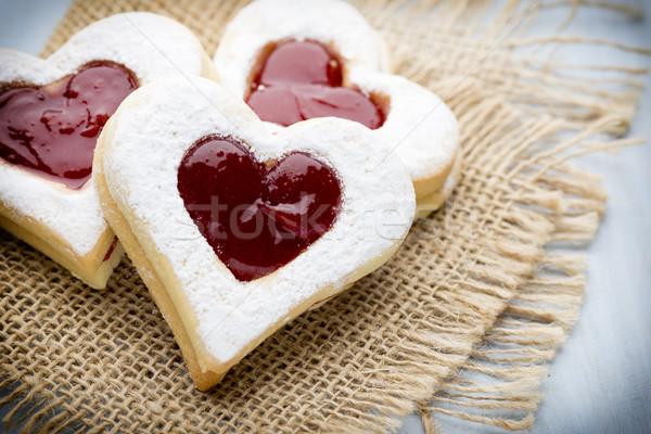 Stok fotoğraf: Kurabiye · kalp · şekli · ahşap · gıda · beyaz · tatlı