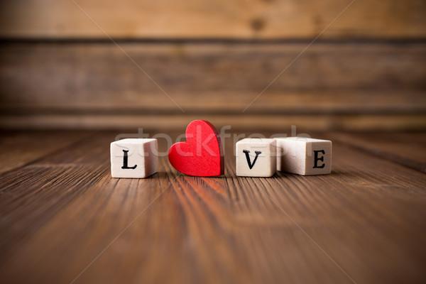 любви сообщение написанный красный сердце Сток-фото © gitusik