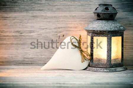 фонарь деревянный стол сердце символ дерево древесины Сток-фото © gitusik