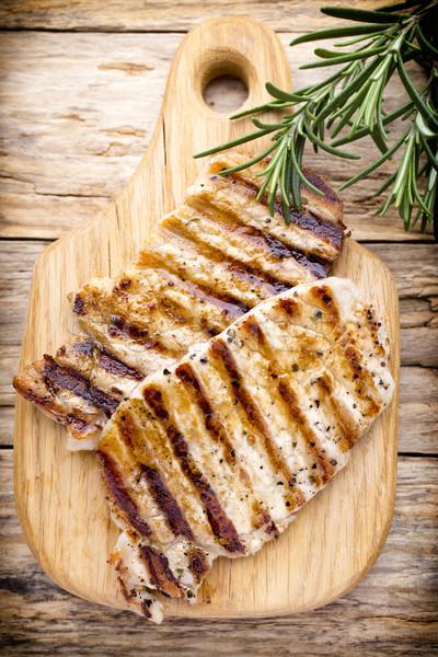 Grillowany wieprzowina sztuk przyprawy rozmaryn mięsa Zdjęcia stock © gitusik
