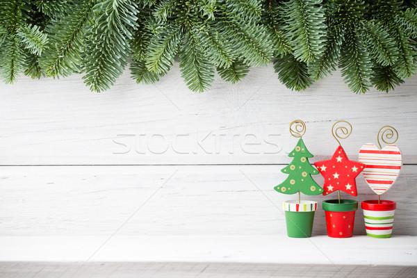 クリスマス 背景 装飾 木製 木材 抽象的な ストックフォト © gitusik