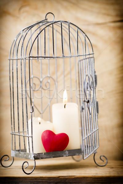 Kooi kandelaar stijl kaarsen valentijnsdag Stockfoto © gitusik
