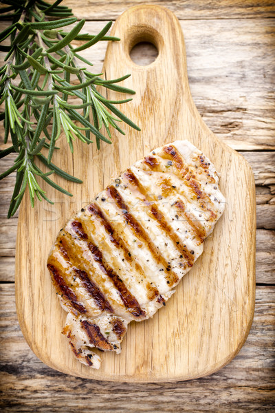 Grilled pork chops pieces. Spices and rosemary. Stock photo © gitusik