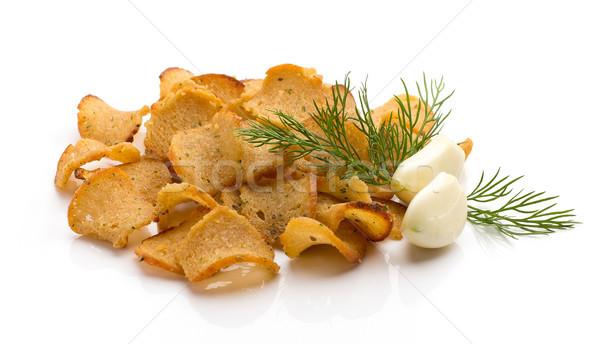 Pão batatas fritas alho isolado branco comida Foto stock © gitusik