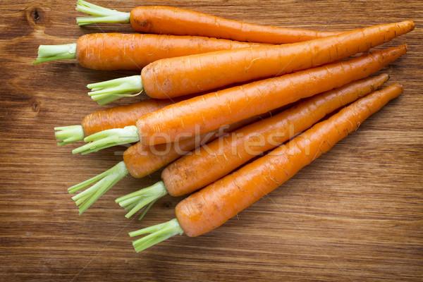 Fresche carote legno alimentare arancione verde Foto d'archivio © gitusik