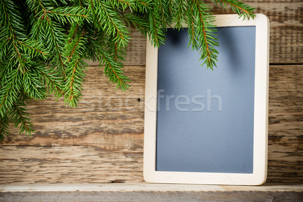 Fichte Zweig Herzen Holz Menü Bord Stock foto © gitusik
