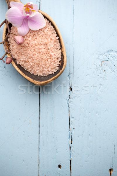 ストックフォト: スパ · シーン · 木製 · 蘭 · 花 · 木材
