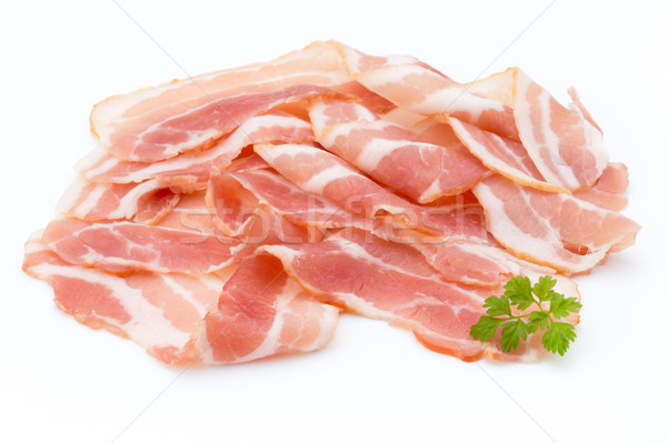 Bacon isolated on white background. Delikatese food. Stock photo © gitusik