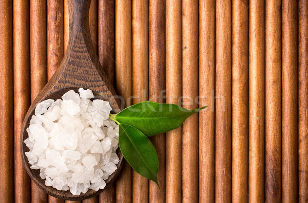 Fürdősó természetes fakanál organikus termék fa Stock fotó © gitusik