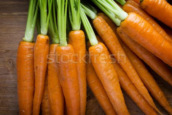 Taze havuç ahşap gıda turuncu yeşil Stok fotoğraf © gitusik