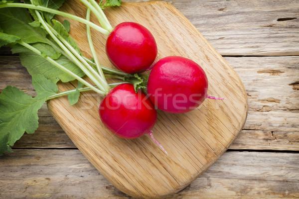 Retek fa asztal asztal növény eszik hátterek Stock fotó © gitusik
