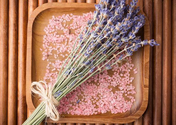 Lawendy wyschnięcia kwiat sól morska liści piękna Zdjęcia stock © gitusik