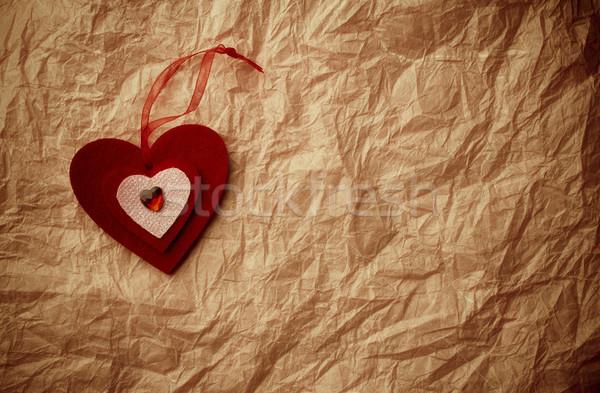 Valentijnsdag harten hart oude vintage papier Stockfoto © gitusik