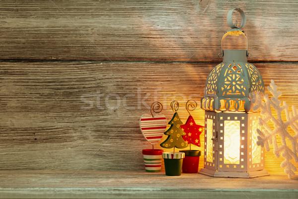 Lanterna natal decoração árvore madeira Foto stock © gitusik