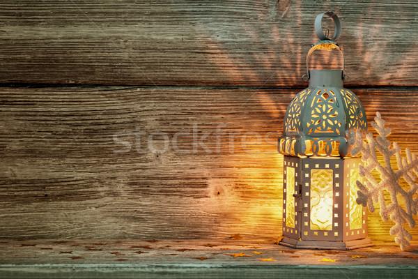 Lámpás karácsony dekoráció fából készült fa fa Stock fotó © gitusik