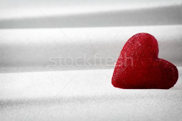 Serca czerwony serca srebrny karty vintage Zdjęcia stock © gitusik