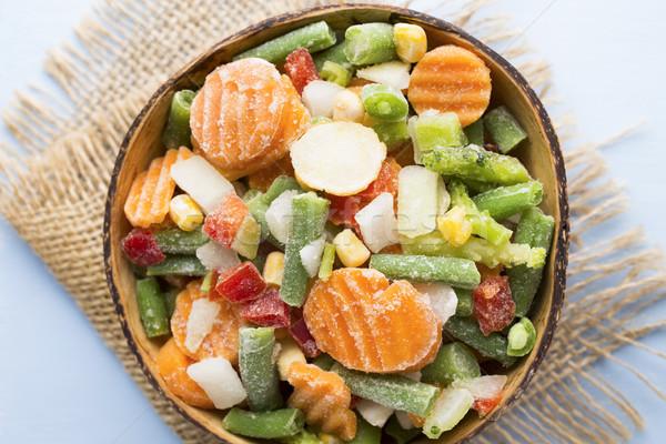 Dondurulmuş sebze ahşap masa gıda salata yeme Stok fotoğraf © gitusik