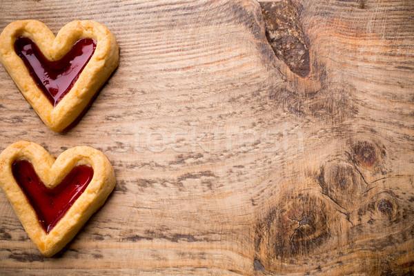 Hart cookies houten studio foto gezondheid Stockfoto © gitusik