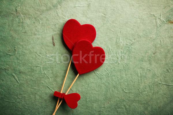 Valentijnsdag oude retro decoratie harten Stockfoto © gitusik