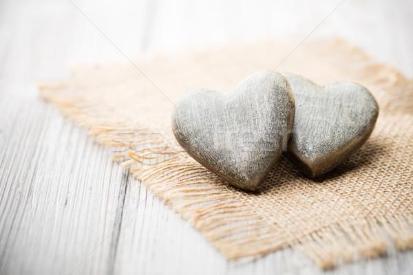 Rusztikus szív fából készült stílus fa fal Stock fotó © gitusik