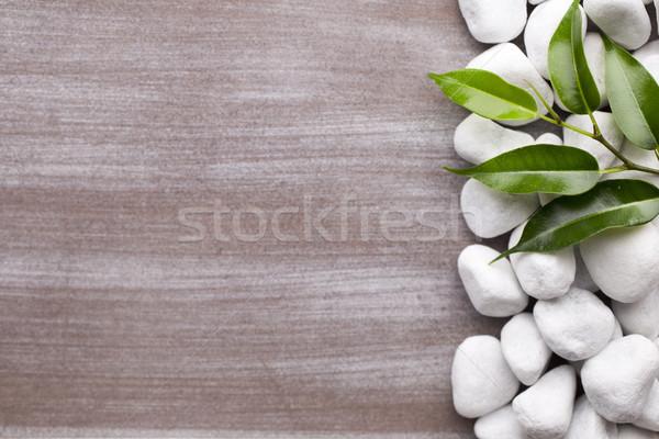 スパ 白 石 フレーム 葉 ストックフォト © gitusik