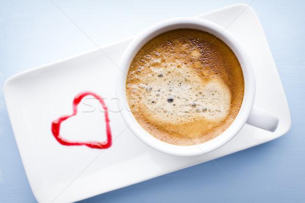Koffie koffiekopje houten tafel hout donkere beker Stockfoto © gitusik