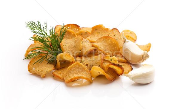 хлеб чипов чеснока изолированный белый продовольствие Сток-фото © gitusik