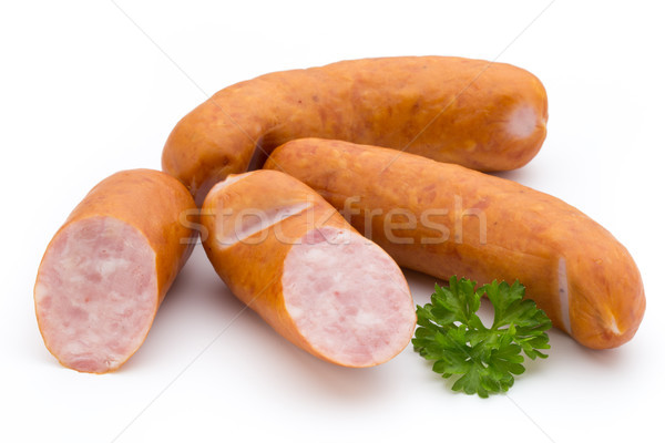 Sausage and spices isolated on white background, fresh delicious Stock photo © gitusik