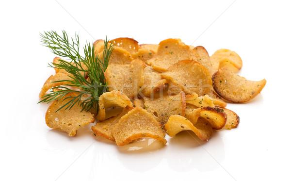 Kenyér sültkrumpli fokhagyma izolált fehér étel Stock fotó © gitusik