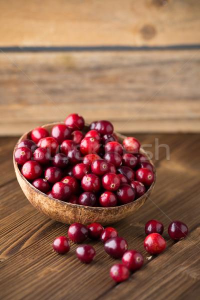 áfonya fából készült tál háttér keret piros Stock fotó © gitusik