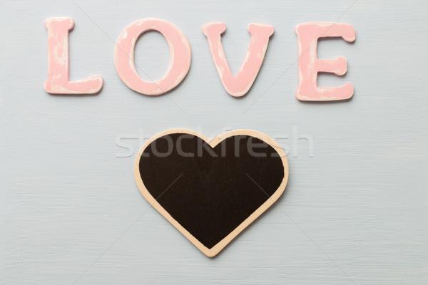 Amore messaggio legno rosa lettere costruzione Foto d'archivio © gitusik