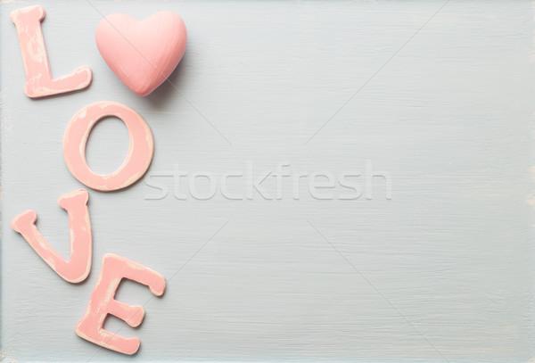 любви сообщение древесины розовый письма строительство Сток-фото © gitusik