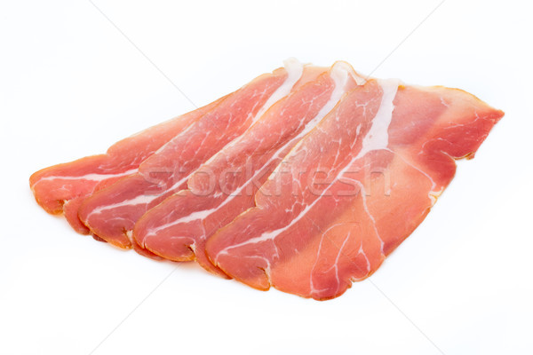 свинина ветчиной Ломтики изолированный белый лист Сток-фото © gitusik