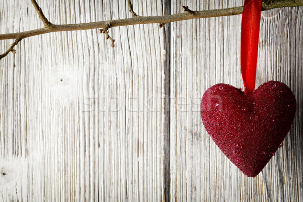 Coeurs rouge coeur suspendu carte Photo stock © gitusik