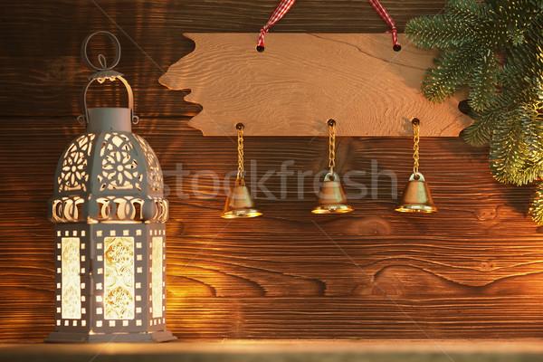 Рождества фонарь украшения дерево древесины Сток-фото © gitusik
