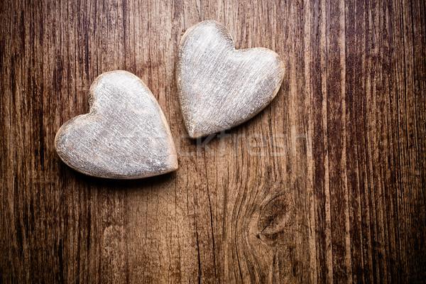 Vintage coração estilo madeira parede Foto stock © gitusik