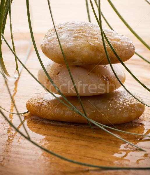 Spa kamienie masażu zielone liście kroplami wody drewna Zdjęcia stock © gitusik