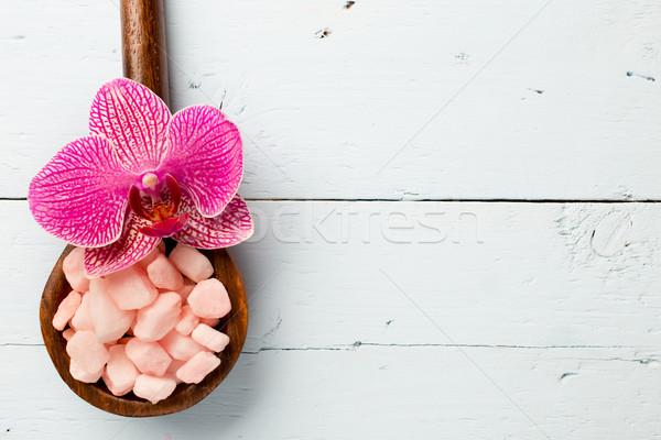 海塩 ピンク 蘭 木材 自然 ストックフォト © gitusik