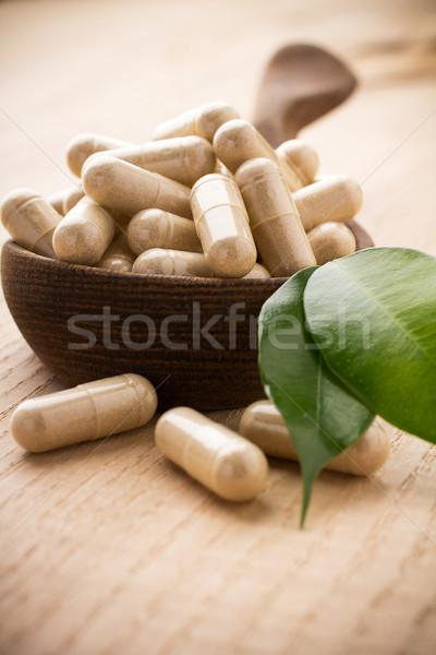 Medicina alternativa folha verde comida natureza saúde Foto stock © gitusik