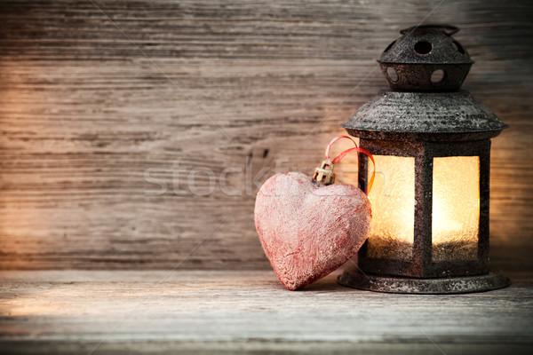 Lanterne table en bois coeur symbole arbre bois Photo stock © gitusik