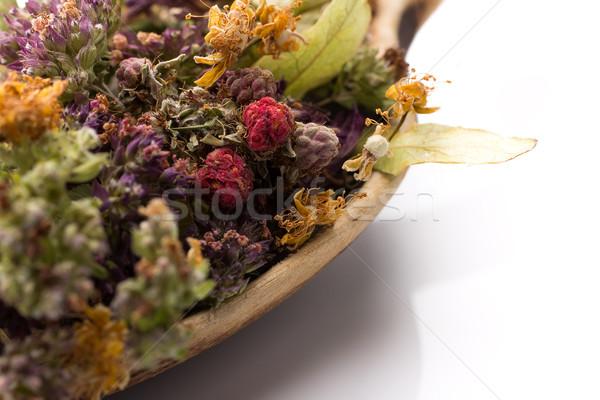 Bitkisel çaylar kuru kaşık yalıtılmış beyaz çiçek Stok fotoğraf © gitusik
