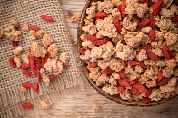 ミューズリー 液果類 ボウル 木製 食品 朝食 ストックフォト © gitusik