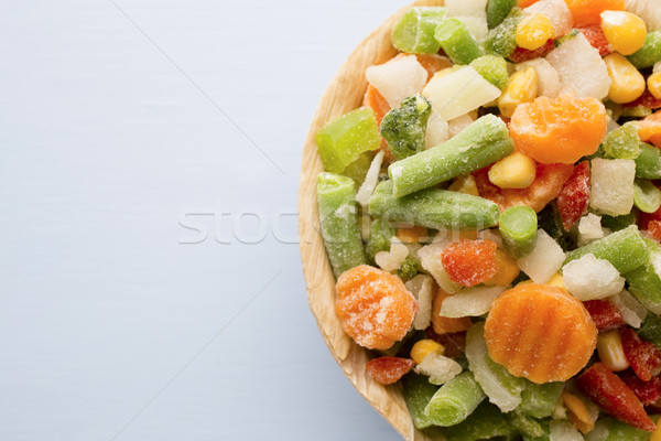 Bevroren groenten houten tafel voedsel salade eten Stockfoto © gitusik