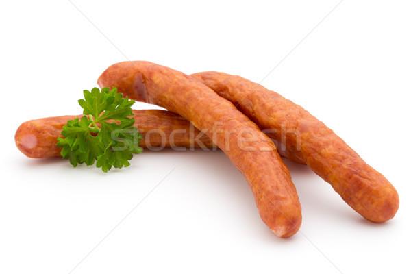 スタック 薫製 ソーセージ 孤立した 白 食品 ストックフォト © gitusik