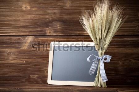 Rozs köteg kék szalag menü tábla Stock fotó © gitusik