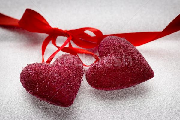 Szívek piros szalag ezüst szív kártya Stock fotó © gitusik