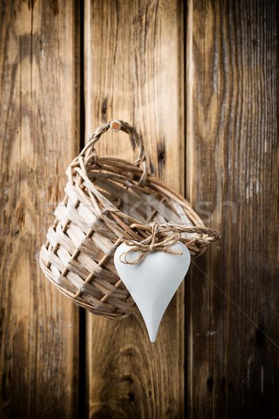 バスケット ライ麦 壁 木製 スタジオ 写真 ストックフォト © gitusik