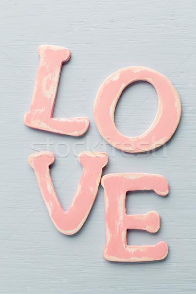 Miłości wiadomość drewna różowy litery budowy Zdjęcia stock © gitusik